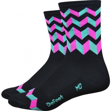 Defeet Hi Rouleur Aireator Jitterbug Sock Pink/Celeste