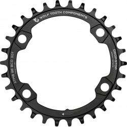 Wolf Tooth Components Drop-Stop 30T Chainring, XT 8000, 96 Asymmetrical BCD, Black